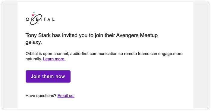 Screenshot of an invitation email