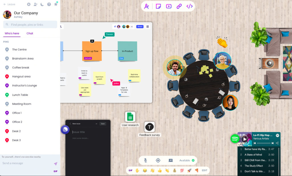 Screenshot of avatars in a galaxy with an office theme