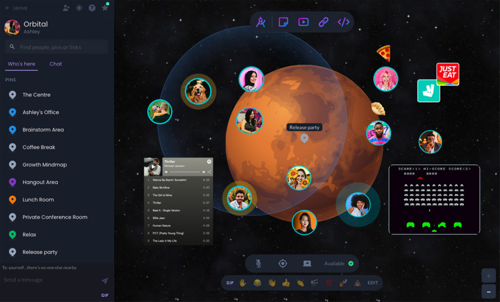 Screenshot of avatars in a galaxy with a space theme